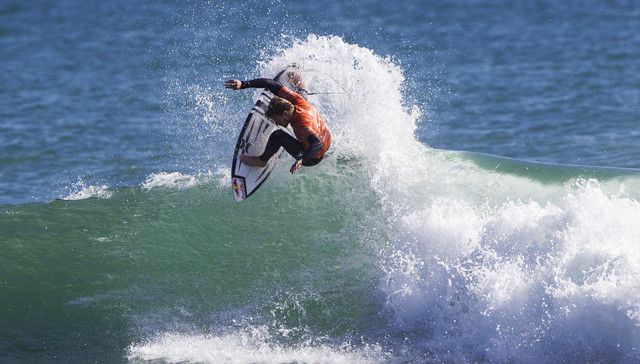 Kolohe Andino of San Clemente California, USA (pictured) winning his Round 1 heat at the Oakley Lowers Pro on Thursday April 29, 2015. Andino posted a near perfect 9.00 (out of ten point ride) to advance into Round 2.