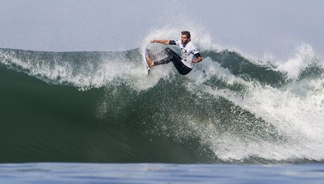 Frederico Morais of Portugal (pictured) winning his Round 1 heat with an excellent 8.63 score (out of a possible 10) to advance into Round 2 at the Oakley Lowers Pro in San Clemente, California, USA on Thursday April 30, 2015.