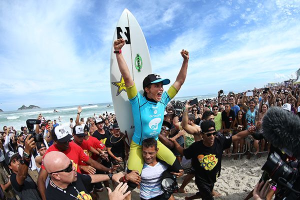 Courtney Conlogue of Santa Ana, Califnornia, USA (pictured) celebrates her victory at the Oi Rio Pro in Barra De Tijuca, Rio, Brasil.