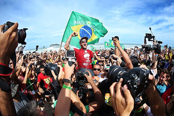 Filipe Toledo of Brasil (pictured) celebrates his win at the Oi Rio Pro in Barra De Tijuca, Rio, Brasil.
