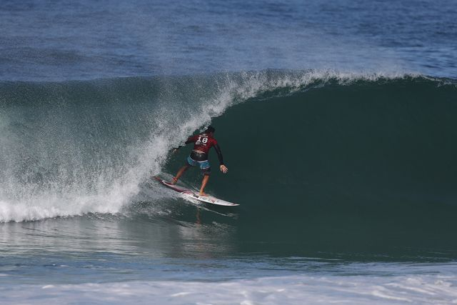 Gabriel Medina of Brasil (pictured) winning his Round 1 heat at the Oi Rio Pro in Barra De Tijuca, Rio, Brasil.