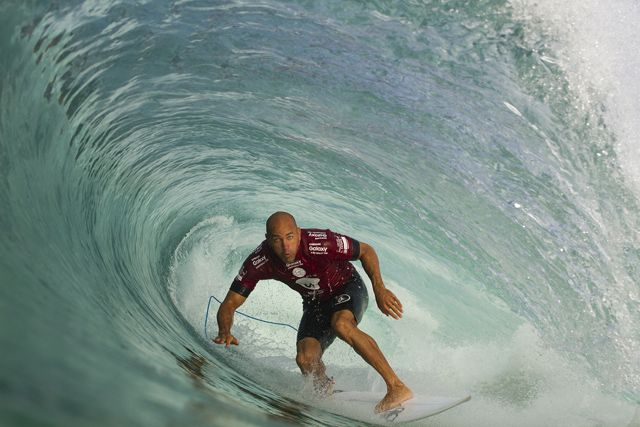 Kelly Slater of Florida, USA (pictured) riding a barrel to post a near perfect score during Round 1 of the Oi Rio Pro in Barra De Tijuca, Rio, Brasil on May 12, 2015.