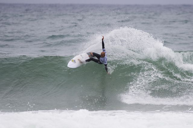 Kelly Slater of Florida, USA (pictured) placing second during Round 4 at the JBay Open on Saturday July 18, 2015. Slater will surf again in Round 5 when competition resumes.