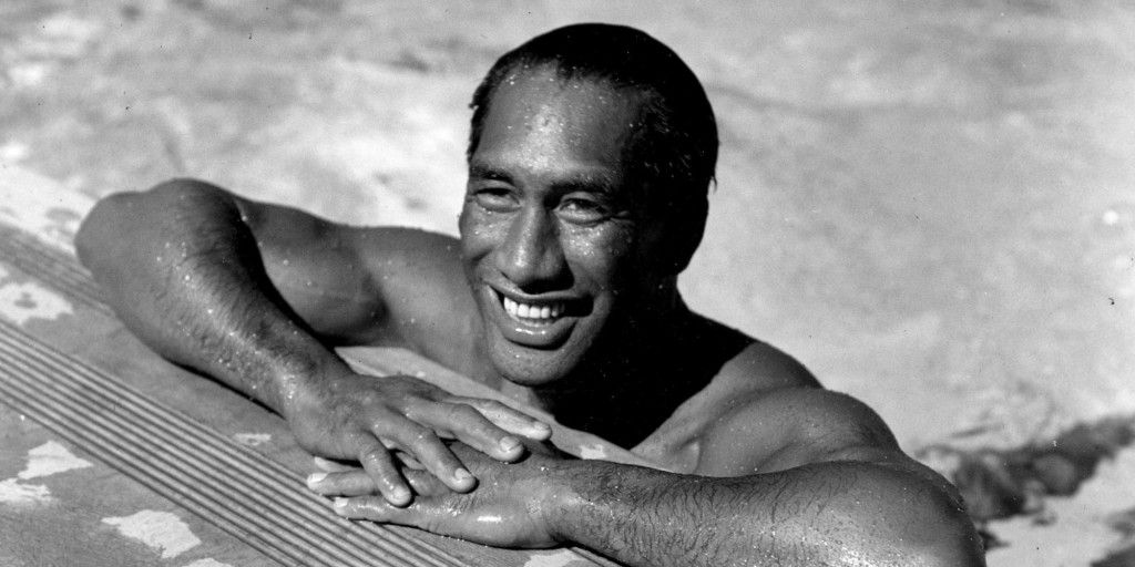 Duke Kahanamoku, Hawaiian Olympic swimmer, poses in a swimming pool in Los Angeles, Ca., on Aug. 11, 1933. (AP Photo)