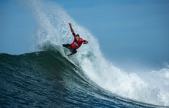 Bede Durbidge of Australia (pictured)  winning his Round 3 heat at the Quiksilver Pro France on Saturday October 10, 2015.