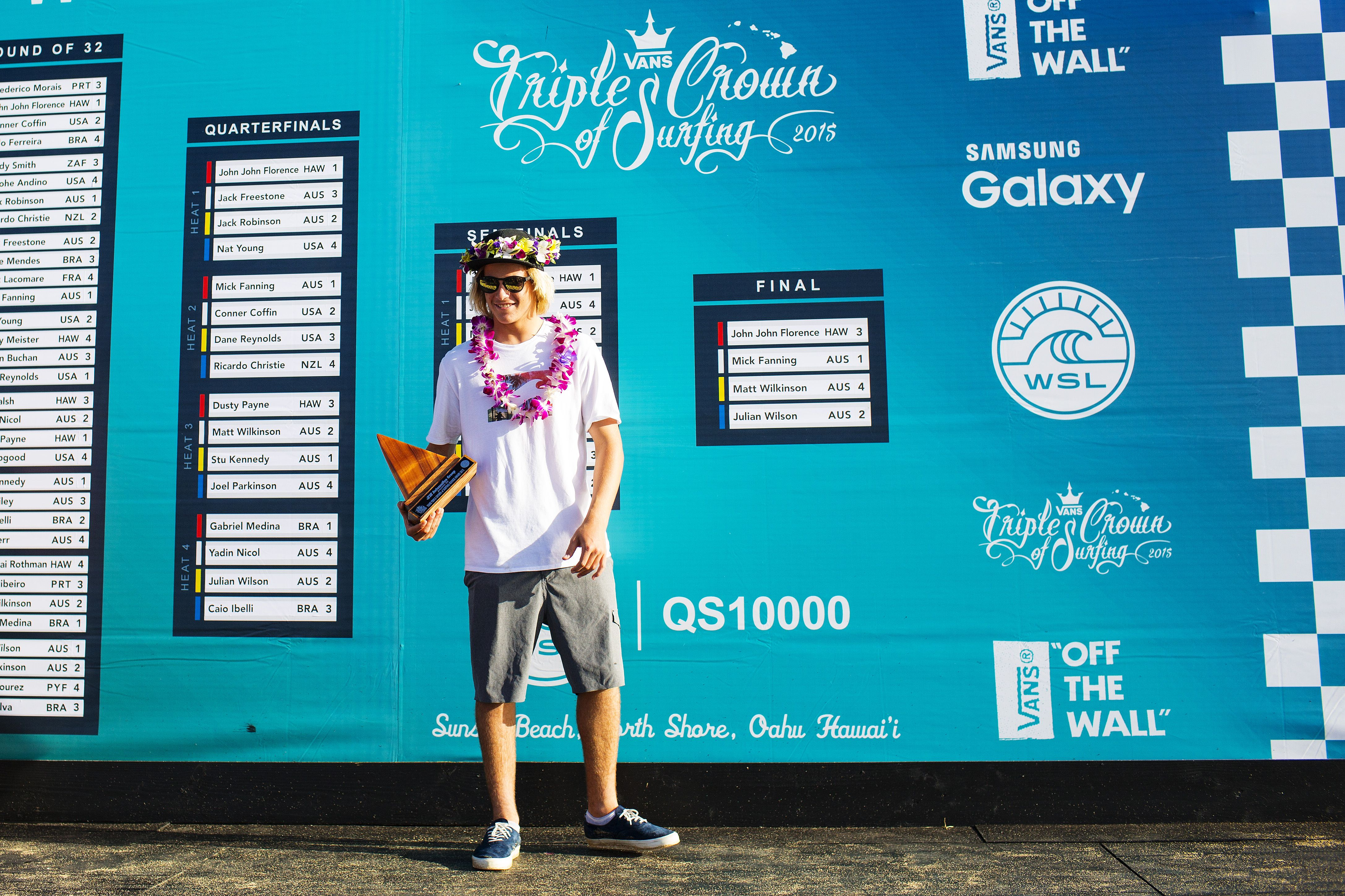 Jack Robinson of Australia winner of the JN Automotive Rookie of the Year Award at the Vans World Cup of Surfing at Sunset Beach, Oahu, Hawaii on Thursday December 3, 2015.