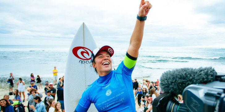 Tyler Wright of Australia (pictured) celebrating her victory at the Drug Aware Margaret River Pro on Friday April 15, 2016.  PHOTO: © WSL/ Sloane SOCIAL: @edsloanephoto @wsl This image is the copyright of  the World Surf League and is provided royalty free for editorial use only, in all media now known or hereafter created. No commercial rights granted. Sale or license of the images is prohibited. This image is a factually accurate rendering of what it depicts and has not been modified or augmented except for standard cropping and toning. ALL RIGHTS RESERVED. placing runner up at the Drug Aware Margaret River Pro in Western Australia.