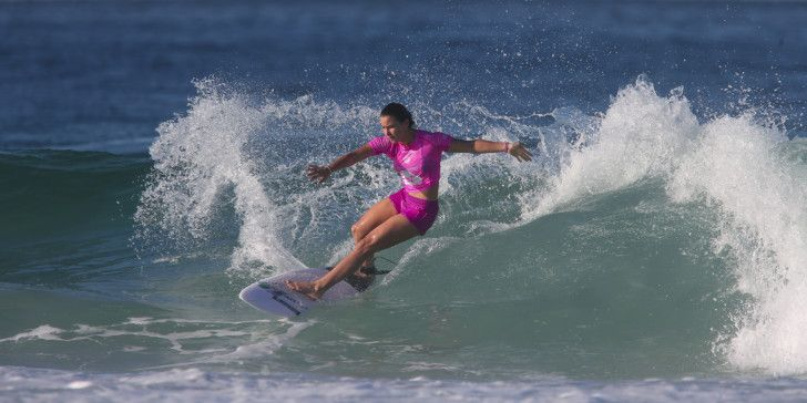 Johanne Defay of Reunion (pictured) winning her round four heat to advance into the quarterfinals at the Oi Rio Pro in Rio de Janeiro on Sunday May 15, 2016. PHOTO: ©WSL/ Cestari SOCIAL: @wsl @kc80 This image is the copyright of  the World Surf League and is provided royalty free for editorial use only, in all media now known or hereafter created. No commercial rights granted. Sale or license of the images is prohibited. This image is a factually accurate rendering of what it depicts and has not been modified or augmented except for standard cropping and toning. ALL RIGHTS RESERVED.