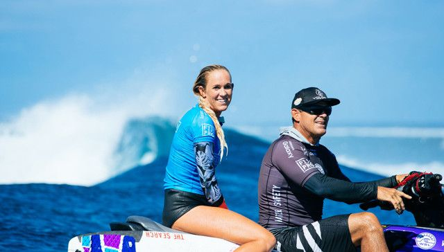 Bethany Hamilton of Hawaii (pictured) caused a huge upset during round two of the Fiji Womens Pro, defeating current World No. 1 Tyler Wright of Australia by posting a near perfect 9.00 point ride (out of ten) to advance into round three at Cloudbreak, Fiji on Monday May 30, 2016. PHOTO: © WSL/ Sloane SOCIAL: @edsloane @wsl This image is the copyright of  the World Surf League and is provided royalty free for editorial use only, in all media now known or hereafter created. No commercial rights granted. Sale or license of the images is prohibited. This image is a factually accurate rendering of what it depicts and has not been modified or augmented except for standard cropping and toning. ALL RIGHTS RESERVED.