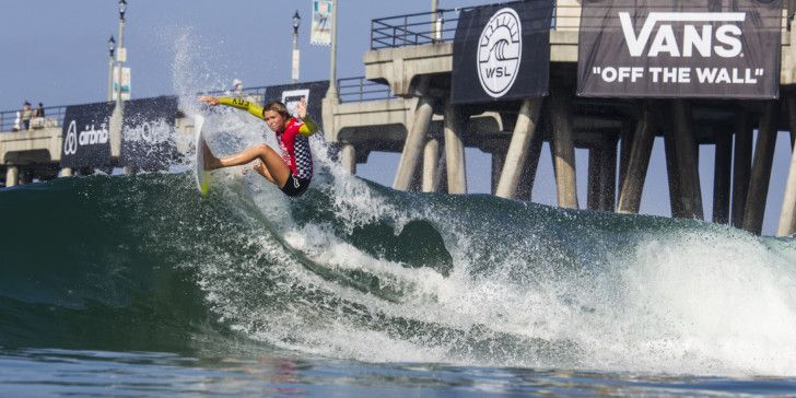 Keely Andrew surfing during Heat Three of Round 4 at The Vans US Open of Surfing
