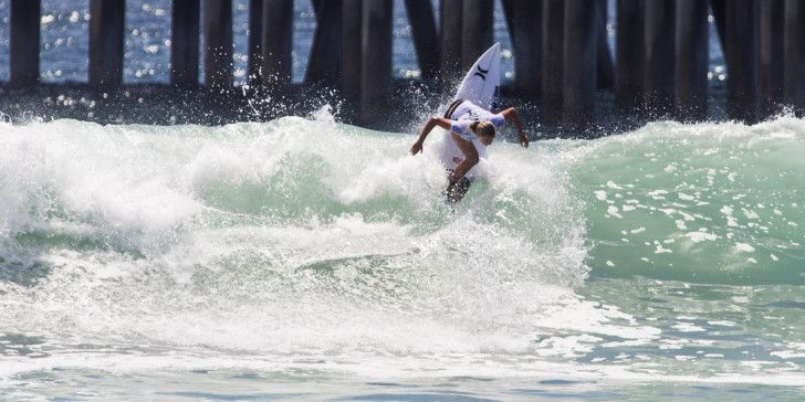 Lakey Peterson surfing during Heat Five of Round 1 at The Vans US Open of Surfing