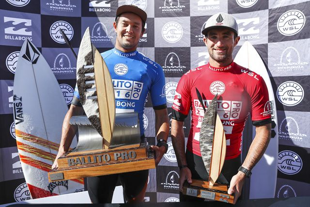 Conner O'Leary (red) of Australia defeated Joan Duru (blue) (pictured) in the final of Ballito Pro Presented by Billabong on Sunday July 3, 2016. PHOTO: © WSL / Cestari. SOCIAL : @wsl @KC80 This image is the copyright of the World Surf League and is provided royalty free for editorial use only, in all media now known or hereafter created. No commercial rights granted. Sale or license of the images is prohibited. This image is a factually accurate rendering of what it depicts and has not been modified or augmented except for standard cropping and toning. ALL RIGHTS RESERVED.