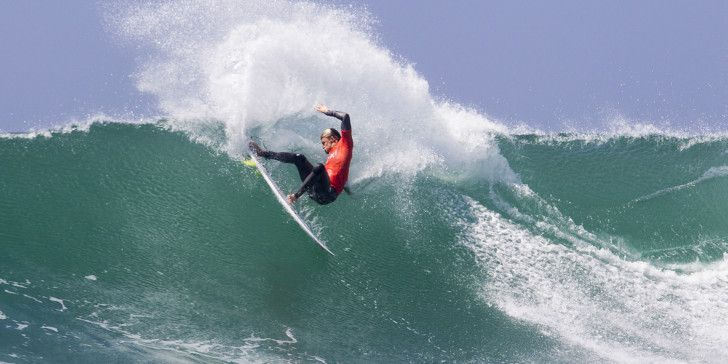 Kolohe Andino surfing during Heat 7 of Round Two at The Hurely Pro Trestles